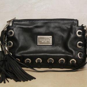 Michael Kors Astor Grommet Black Leather Clutch